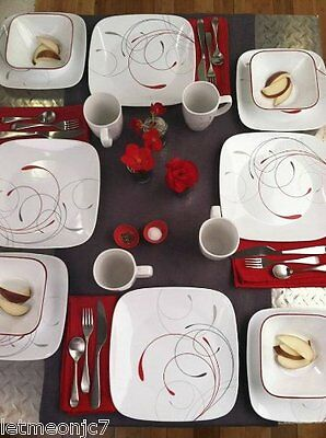 Corelle Square 16 Piece Dinnerware Set Dishes Plates Cups Kitchen Dinner Table