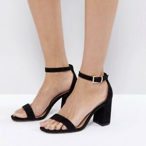 6e42478f8f2 Image is loading Black-ASOS-Barely-There-Block-Heeled-Sandals