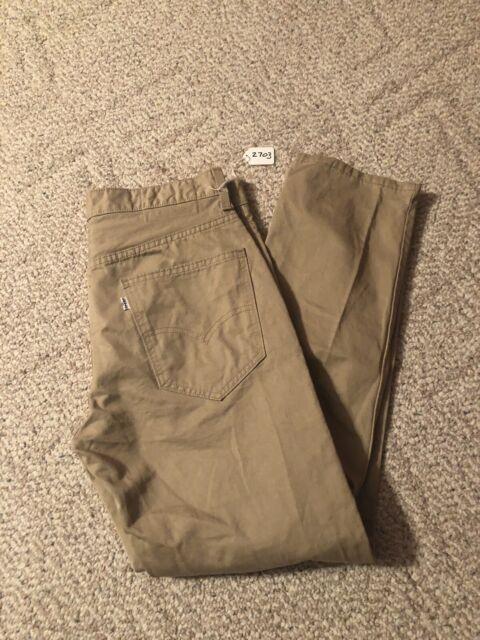 d11f5afd67 Levis Slim Chino Pants Mens Size 33 X 30 Tan 100% Cotton White Tab 2703