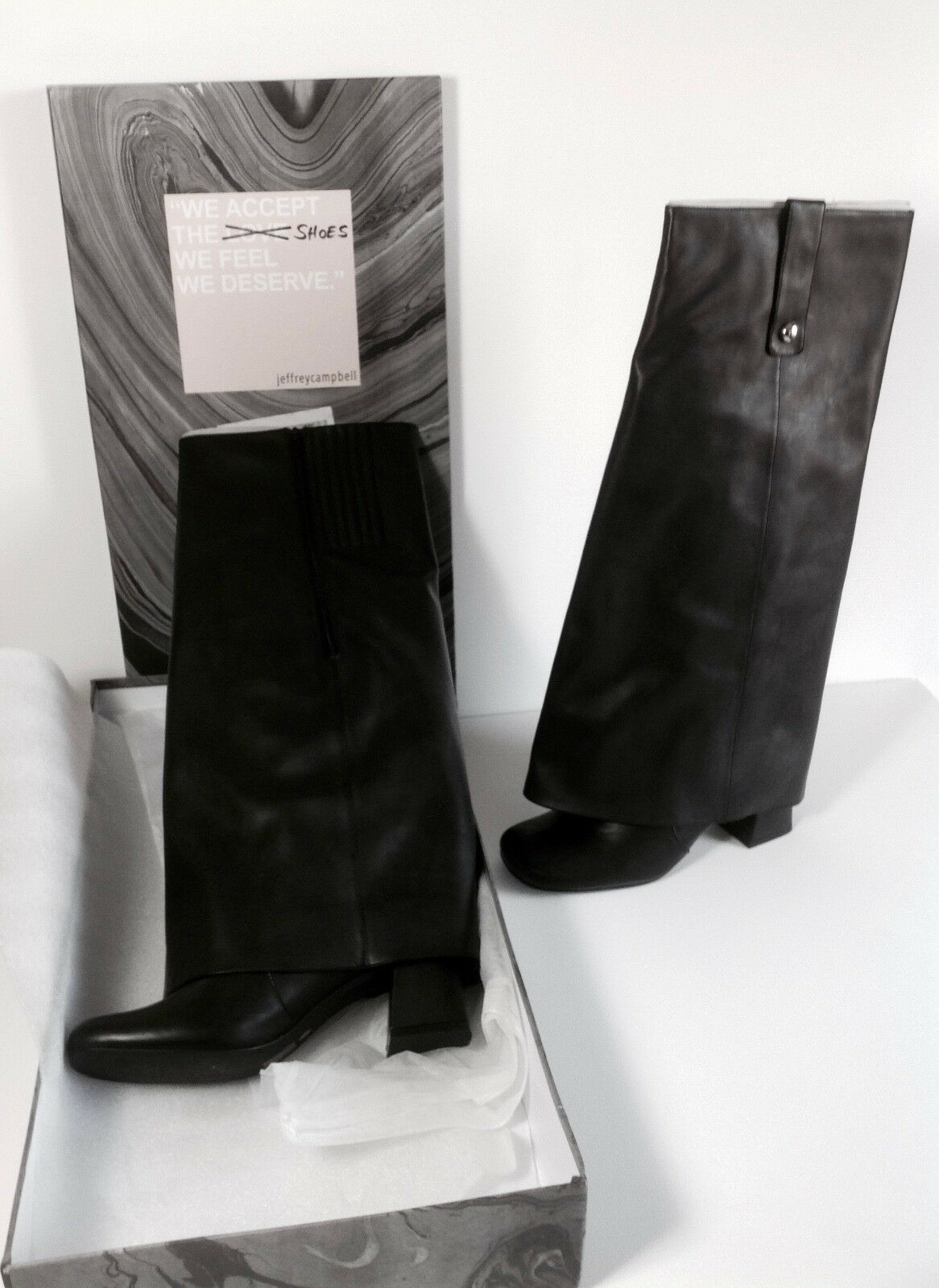 JEFREY CAMPBELL VERY STYLISH WOMAN KNEE-HIGH BOOTS LEATHER size 8 new with box