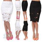 Women Fashion Midi Lace Pencil Elastic Skirt Formal Cocktail Office Casual Club