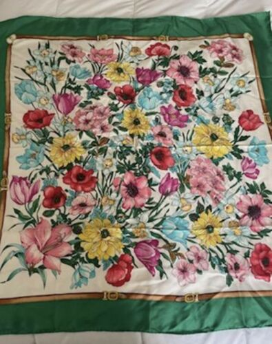 Vintage Gucci Floral 100% Silk Scarf Green/Multic… - image 1