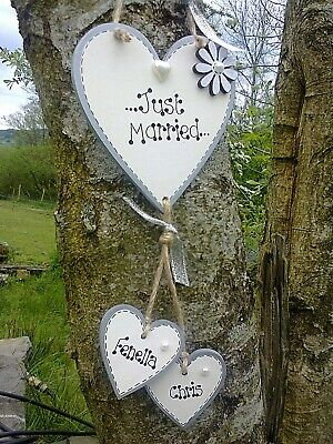 New Just Married Personalised hanging heart wedding Mr /& Mrs  gift plaque sign