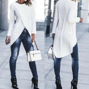 Tops-Asymmetrical-Blouse-High-Low-T-Shirt-Tunics-Long-Womens-Sleeve-Cross-Shirt