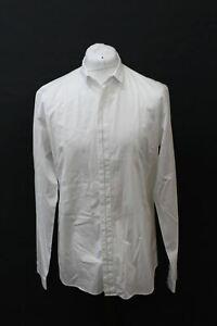 Dior-Para-Hombre-Blanco-De-Algodon-Manga-Larga-Camiseta-de-linea-Negro-Formal-Cuello-16-034-41cm