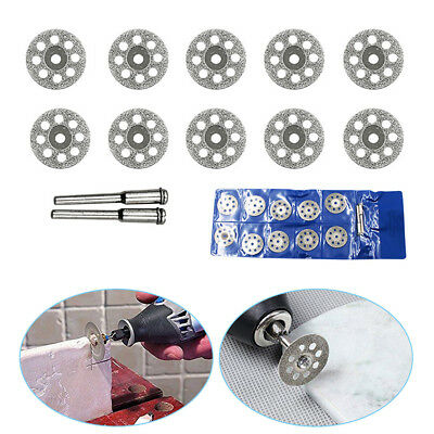 10X Mini Diamond Saw Blade Cutting Disc Rotary Wheel Grinding 2 Mandrel