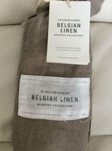 Restoration Hardware  Stonewashed Belgian Linen Lumbar Sham Prairie Brown New!
