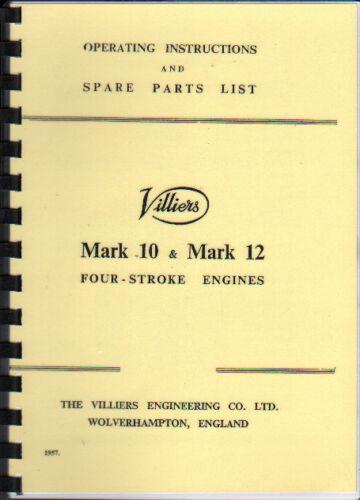 Villiers Mark 10 /& Mark 12 libro Manual de piezas de funcionamiento motor estacionario
