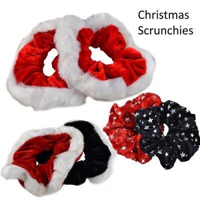 2 Pack Red Set CHRISTMAS Velvet Hair Scrunchies Ponio Elastic Hair Band Tie