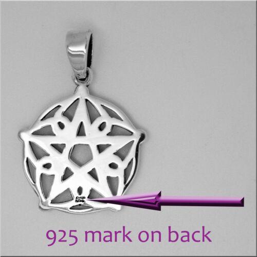 925 solid Sterling Silver Norse Viking Pentagram Pentacle of Brisingamen pendant