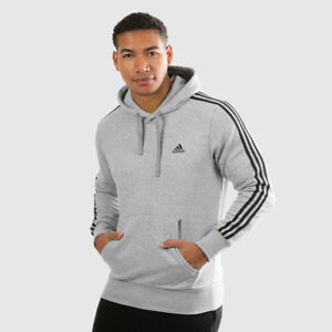 Details about Adidas Men Pullover Hoodie Running 3 Stripes Training Grey  Essential CD8680 New