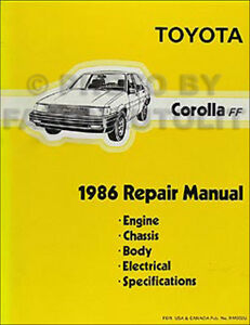1986 toyota corolla fwd repair shop manual dlx le original oem rh ebay com Ford Manuals Clymer Manuals