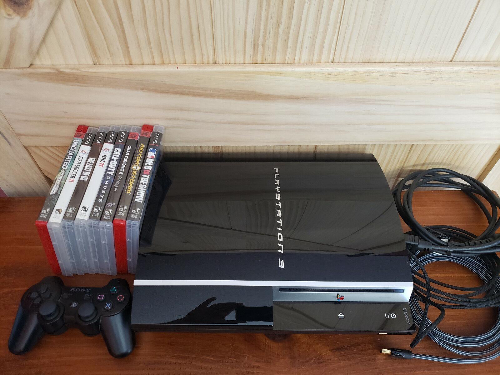 Sony Playstation 3 80GB System 2008 Model CECHK01 + 8 Game Bundle + 1 Controller