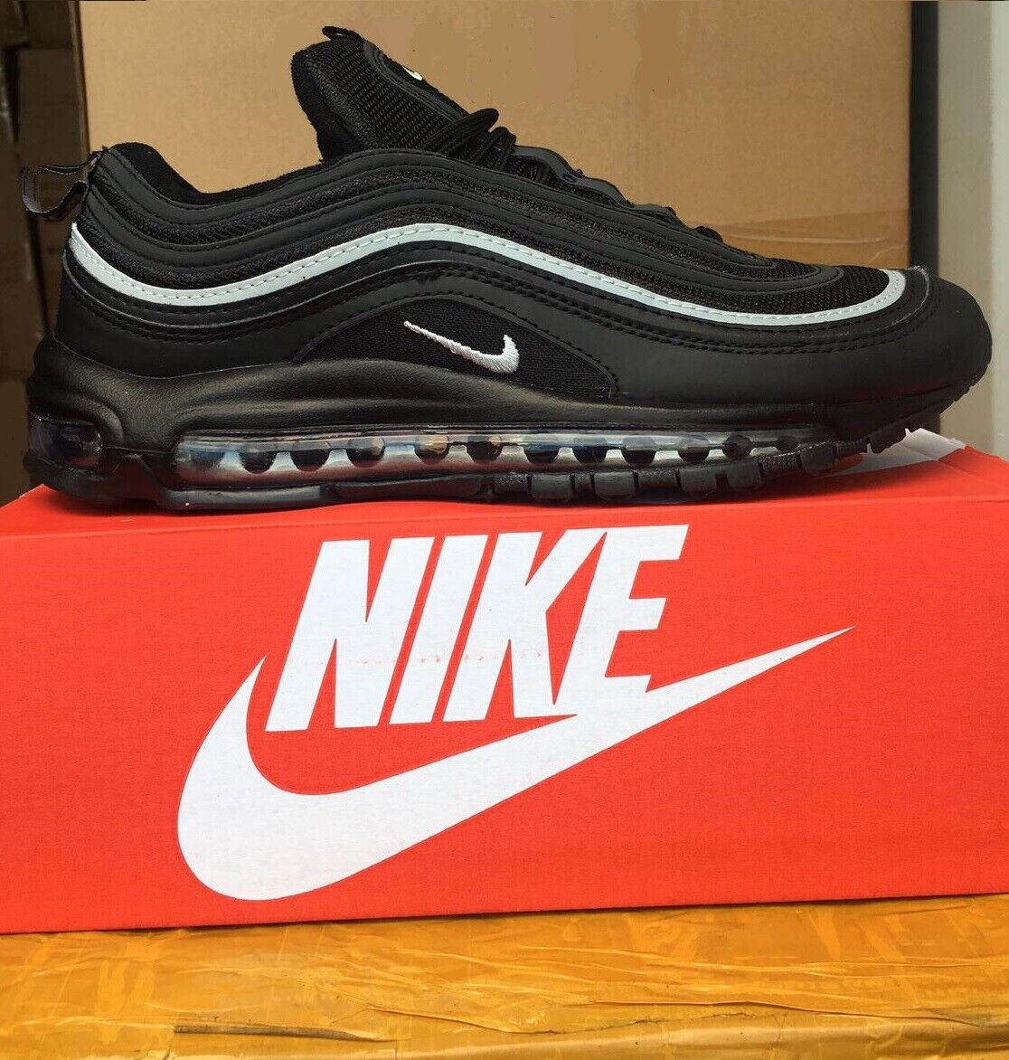 best website f488c d4fa7 Nike Air Max 97 triple all Black With White strip Brand New SIZES FROM UK  3-10