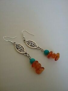 Bali inspired turquoise and amber earrings in silver