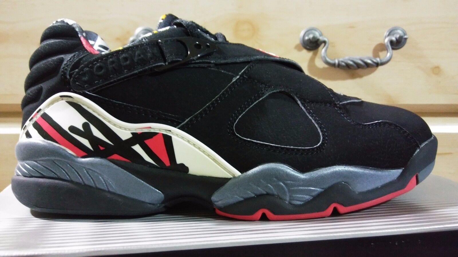 Nike air jordan 8 retrò basso Uomo sz nero / vero red-del sol nwb tutti i suede