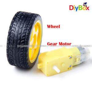 smart Car Robot Plastic Tire Wheel with DC 3-6v Gear Motor for arduino
