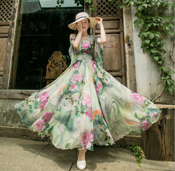 Womens New Fashion Floral Printed Very Full Skirt Flared Long Chffon Dress 3689