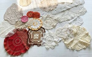 Vintage-Lot-Crocheted-Doilies-23-Pieces-White-Ecru-Colors-Doily