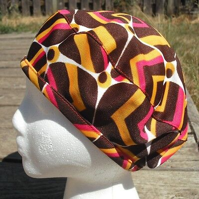 Brown/Yellow/Red Vintage Polyester Smaller Size Beret - Handmade by Michaela