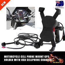 Waterproof Motorcycle Mobile Phone Mount GPS USB Charger Power Supply Port Socke