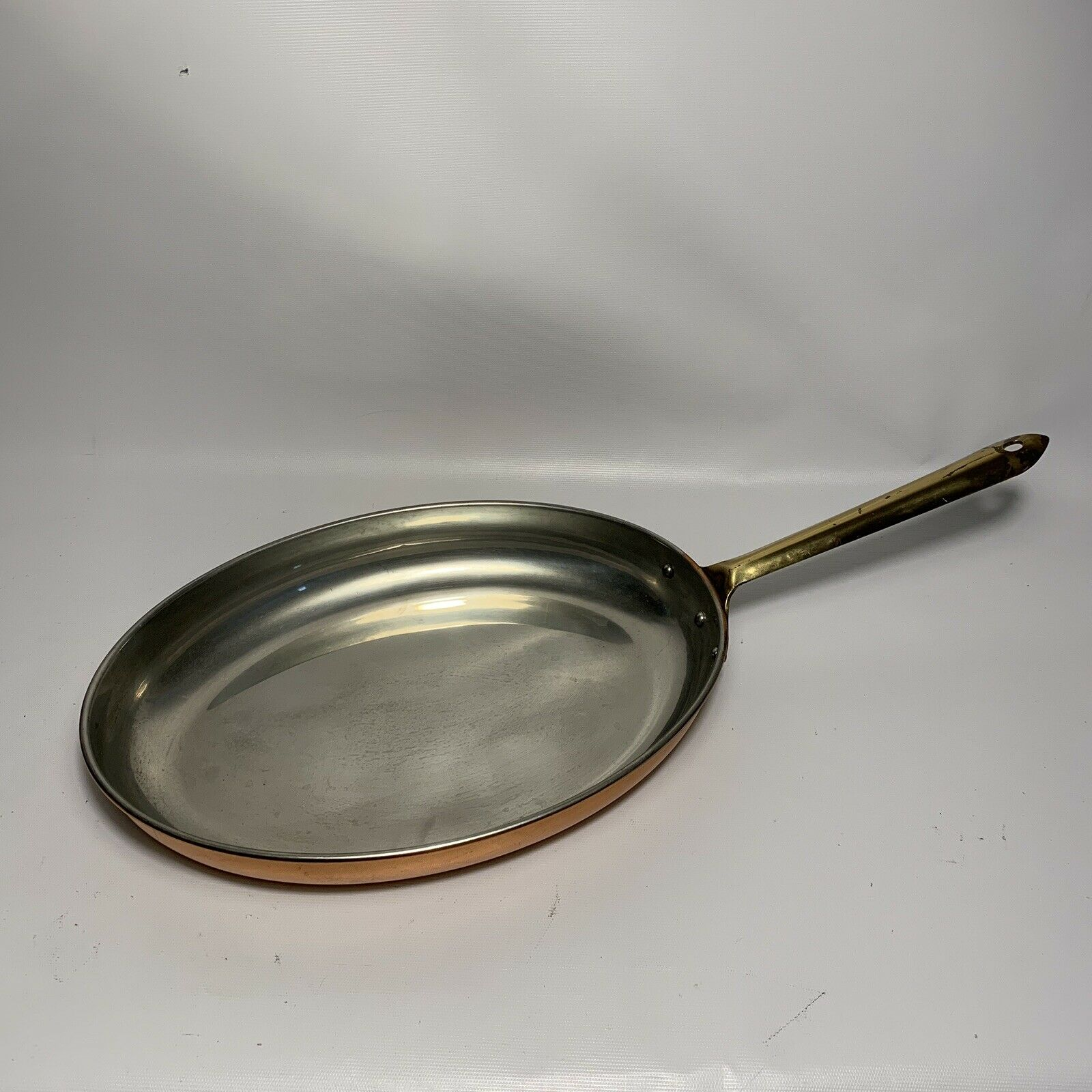 """Vintage 13"""" Copral Portugal Oval Copper Fish Saute Pan W  Brass Handle"""