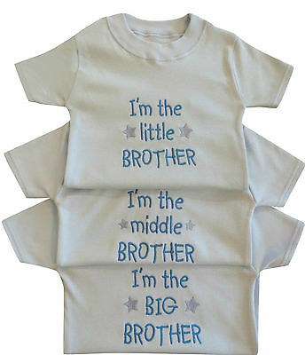 I'm The Little Middle Big Brother Boy Baby Blue White T Tee Shirt Funny Gift