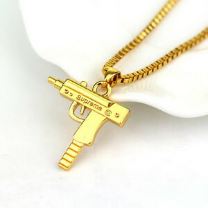 Gold Pendant Top quality uzi gun gold pendant necklace chain 18kt gold plated hip top quality uzi gun gold pendant necklace chain audiocablefo