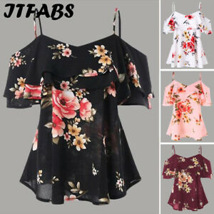 New-Women-Chiffon-Halter-Tops-Off-Shoulder-Loose-Floral-Tops-Casual-Shirt-Blouse