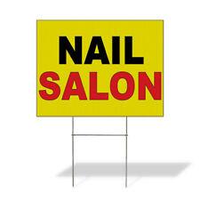 Weatherproof Yard Sign Nail Salon Yellow Background Black Red Lawn Garden