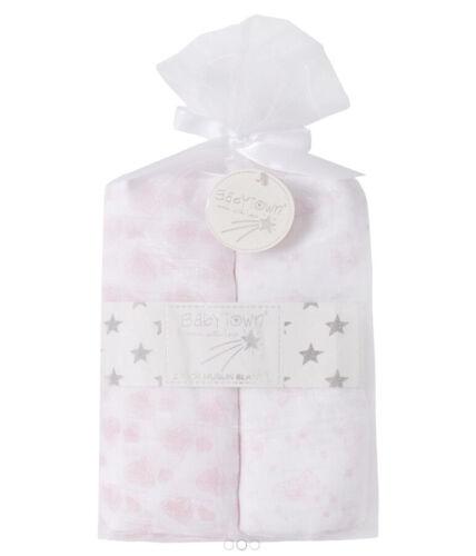 76x76cm 2 Pack Bébé Mousseline Carrés Baby Wrap Swaddle 100/% coton Mousselines