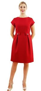 Red-Dress-with-Waist-Detail-Shorter