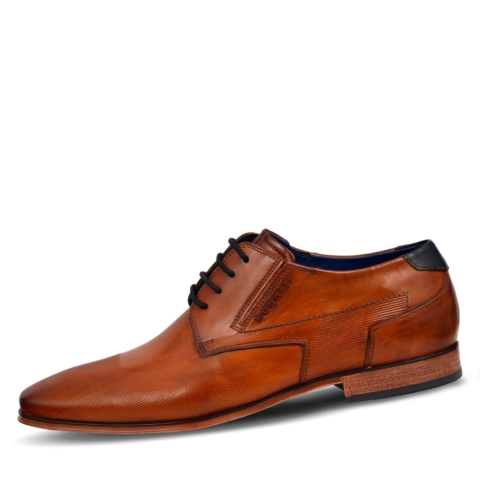 Herren Bugatti Schnürschuhe Halbschuhe cognac Schuhe