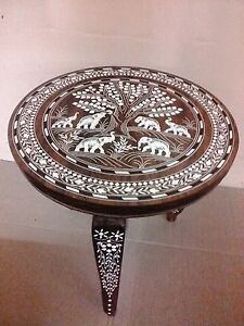 Round-Coffee-Table-Elephant-Carved-Inlaid-Work-Rosewood-Foldable-Hand-made-Decor