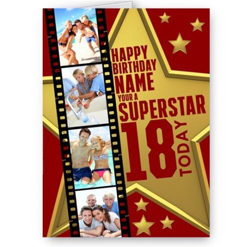 Superstar Design A5 Birthday Card Personalised Photos Movie Film Name /& Age