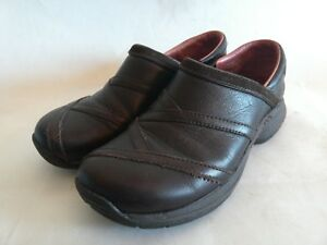 MERRELL-Primo-Patch-Bug-Brown-Womens-Sz-7-5-Leather-Slip-On-Comfort-Clogs-Shoes