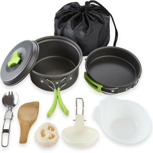 Cookware Combo Outdoor Camping Portable 10pcs 1-2 People Picnic Camping Cookware