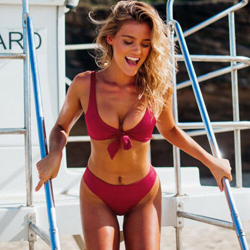 Women Tie Front Swimwear Bikini Set Swimsuit Beach Swimming Costume Bathing Suit