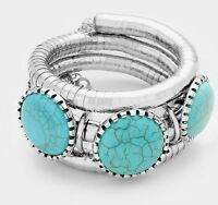 Turquoise Silver Cuff Wide Bracelet Costume Statement