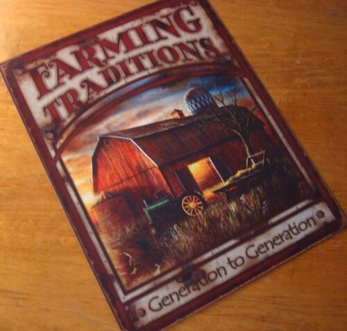 Beautiful FARMING TRADITIONS SIGN Red Barn Tractor /& Wagon Farm Decor Sign NEW