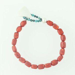 New-Beaded-Sponge-Coral-amp-Turquoise-Bracelet-Sterling-Silver-Ring-amp-Toggle-Clasp
