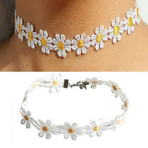 Women-Daisy-Choker-Chain-Necklace-Lace-Yellow-amp-White-Flowers-Boho-Necklace