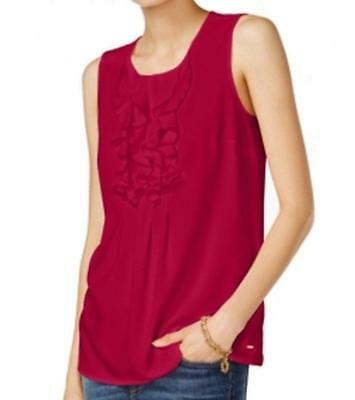 Tommy Hilfiger Women/'s Sleeveless Ruffle Front Blouse