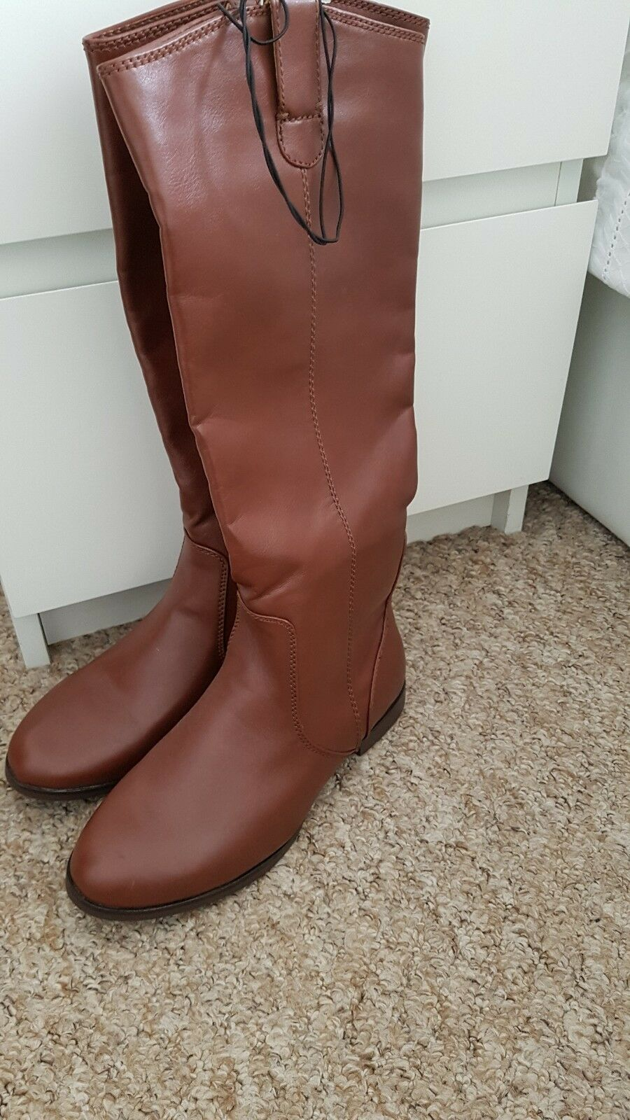 Womens tan knee high riding boots