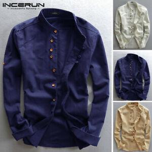 Hommes Chemise à manches longues en coton 100% T-shirt à col t-shirt hauts tee