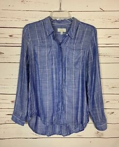 Lucky-Brand-Women-039-s-S-Small-Blue-Striped-Button-Long-Sleeve-Top-Blouse-Shirt