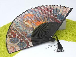 Fridolin-Eleganter-Faecher-im-Stoffbeutel-Bambus-amp-Stoff-Art-Nouveau-Zodiac