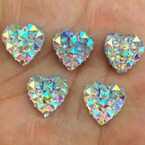 100Pcs Nail Art 3D Silver Heart Shape Faced Flat Back ...