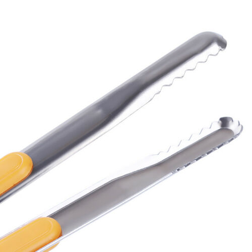 Non-Stick Tong Bakeware Metal Clamp Cooking Squeezer Gripper Salad Tongs HO
