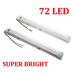 Pair-72-LED-Car-Interior-White-Strip-Lights-Bar-Lamp-Van-Caravan-ON-OFF-Switch